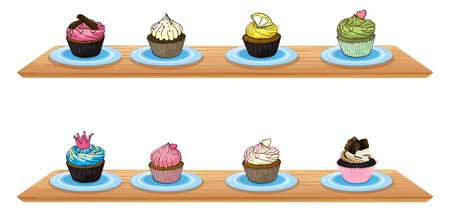 wooden shelves: Illustration of eight cupcakes at the wooden shelves on a white background