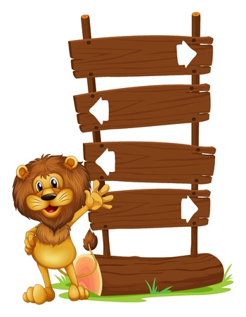 Illustration of a lion and the wooden board on a white background Vector