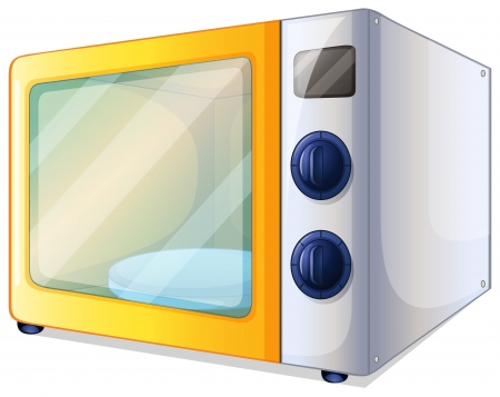 blue white kitchen: Illustration of a microwave on a white background