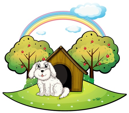 Illustration of a puppy near an apple tree on a white background Vector