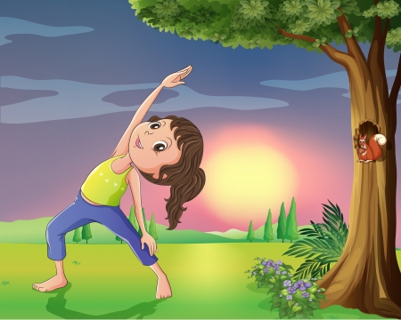 Illustration of a girl exercising near a tree with squirrel Vector