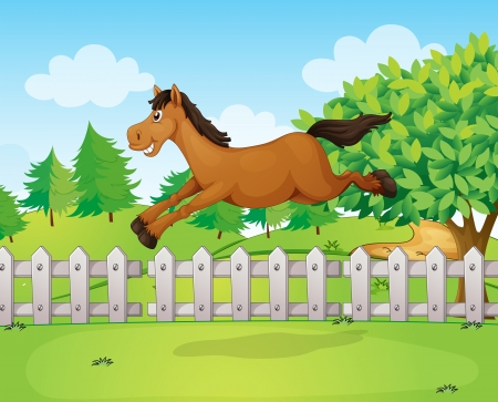 wooden horse: Illustration of a horse jumping over the fence