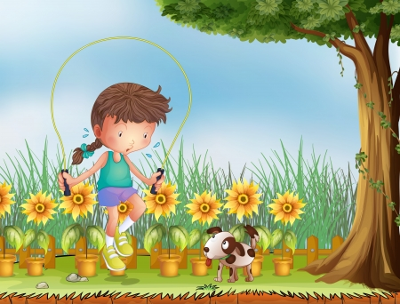 little dog: Illustration of a girl playing jumping rope with a dog Illustration
