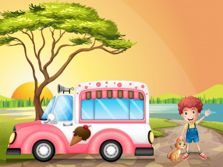 Illustration of a boy with a cat beside an icecream truck  Vector