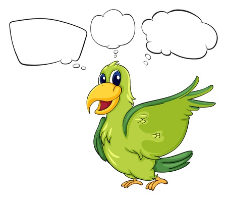 Illustration of a green bird on a white background Vector