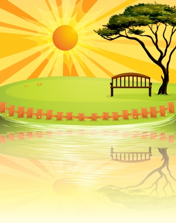 Illustration of a sunset at the park Stock Vector - 18012971