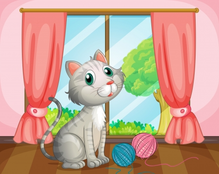 house cat: Illustration of a cat near the window Illustration