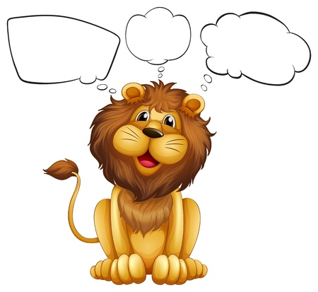 shape cub: Illustration of a lion with empty bubble notes on a white background Illustration