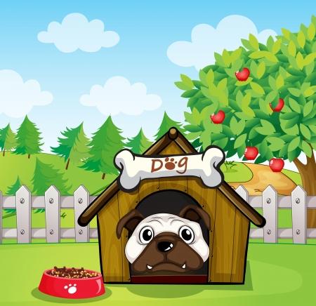 Illustration of a dog inside a dog house  Vector