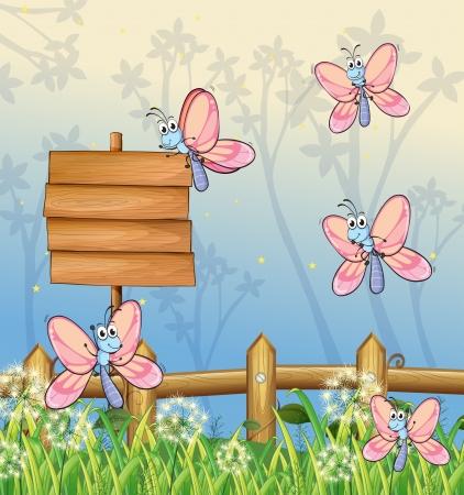 Illustration of five butterflies near an empty board Stock Vector - 18012933