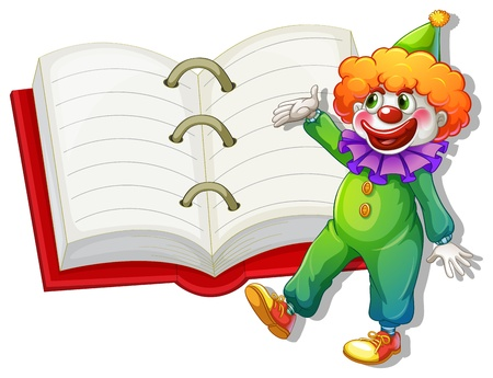 Illustration of a clown and the big notebook on a white background Vector