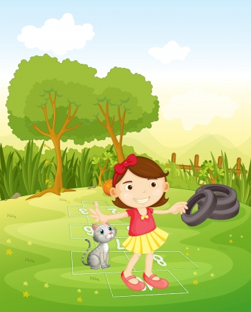 hopscotch: Illustration of a girl playing at the park with her cat Illustration