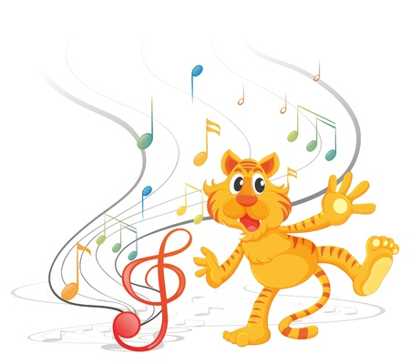 half note: Illustration of a tiger with musical notes on a white background