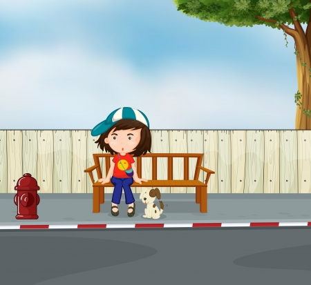 cartoon bus: Illustration of a girl and a dog sitting along the road