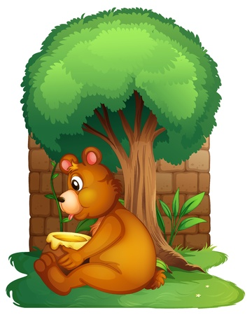 Illustration of a bear sitting under a big tree on a white background Vector