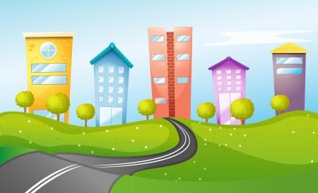 windy city: Ilustraci�n de los edificios altos de la ciudad