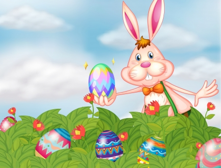 canvass: Illustration of a bunny with eggs at the garden Illustration