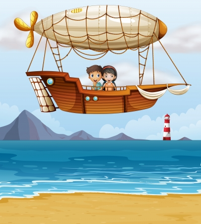 floating on water: Illustration of a boy and a girl riding an airship