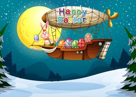 luftschiff: Illustration von einem glücklichen Ostern-Gruß