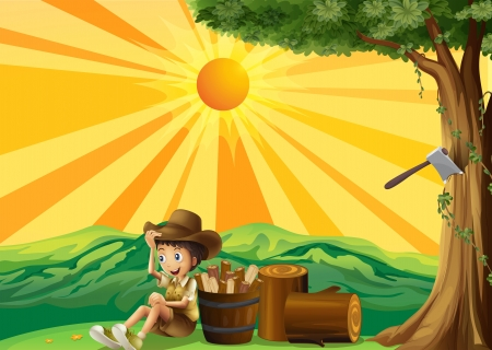 cartoon wood bucket: Illustration of a sunset view with a boy scout