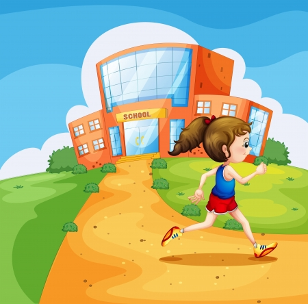 Illustration of a girl running near the school Vector
