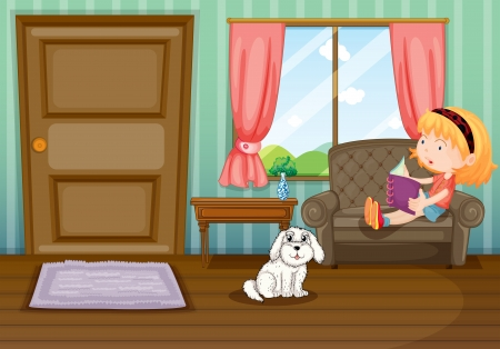 living room: Illustration of a girl reading a book with a dog  Illustration