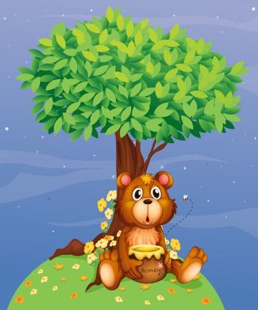 flor caricatura: Ilustración de un oso que sostiene una miel de un árbol