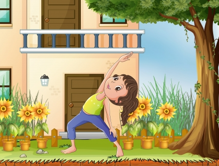 Illustration of a young girl exercising in front of the house Vector