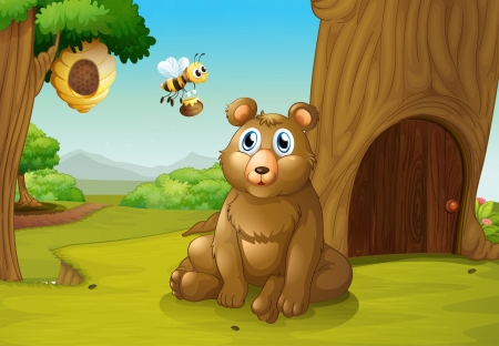 Illustration of a bear and a bee near a treehouse Vector