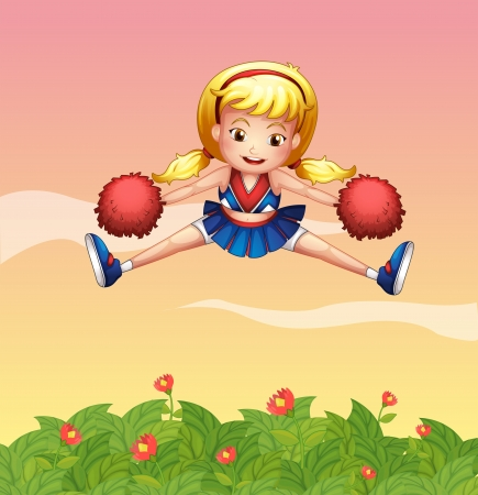 Illustration of a cheerleader in the garden Vector