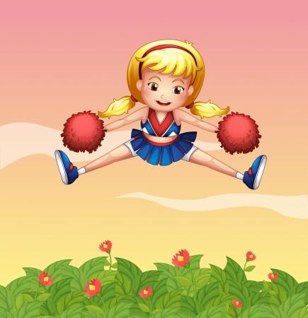 cheer leader: Ilustraci�n de una animadora en el jard�n