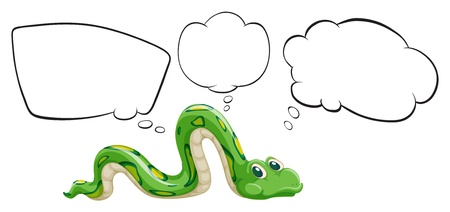 Illustration of a green snake with the empty bubble notes on a white background Illustration