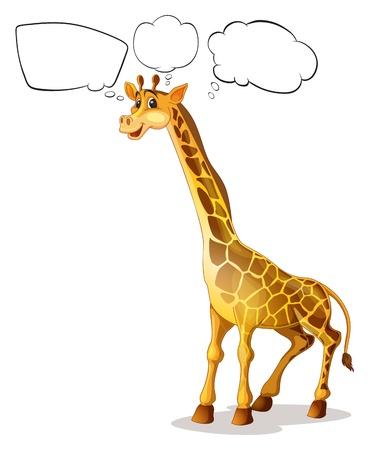 jirafa fondo blanco: Ilustración de una jirafa con llamadas vacías sobre un fondo blanco