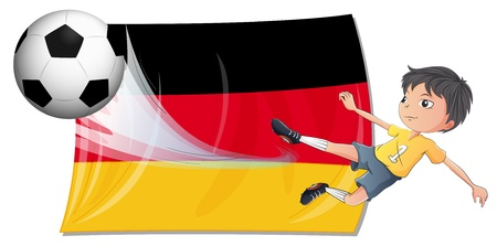 deutsch: Illustration of a boy playing football on a white background Illustration