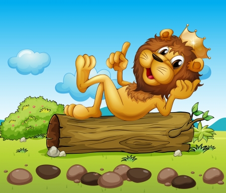 Illustration of a lion king above a trunk Vector