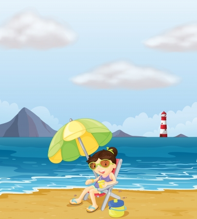 Illustration of a girl relaxing at the beach  Vector