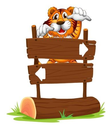 Illustration d'un tigre dans une ambiance effrayante à l'arrière d'un panneau sur un fond blanc