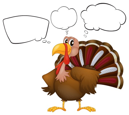 Illustration of a turkey with empty thoughts on a white background Vector