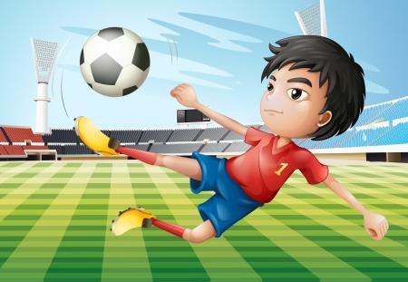 futbol soccer dibujos: Ilustración de un muchacho que juega a fútbol en la cancha de fútbol