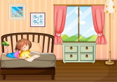 reading glass: Dibujo de un ni�o estudiando en el interior de su habitaci�n Vectores
