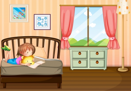 reading room: Illustration of a child studying inside her room