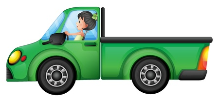 driven: Illustration of a green car driven by a girl on a white background