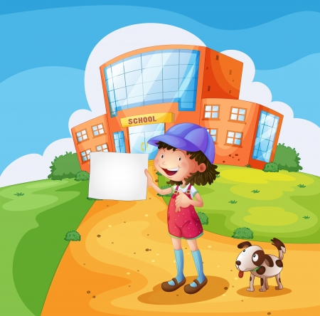 Illustration of a child with a piece of paper standing in front of the school Vector