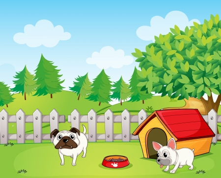 Illustration of two bulldogs inside the fence Vector
