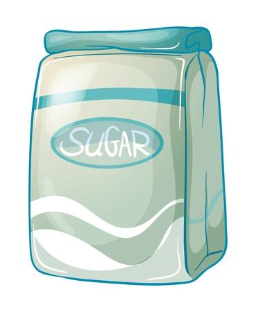 Illustratie van een pak suiker op een witte achtergrond