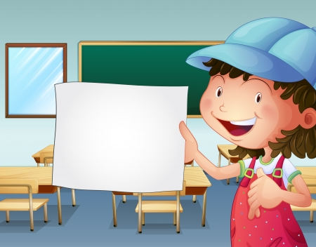 Illustration of a student holding an empty piece of paper Vector
