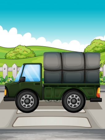 Illustration of a big green truck Vector