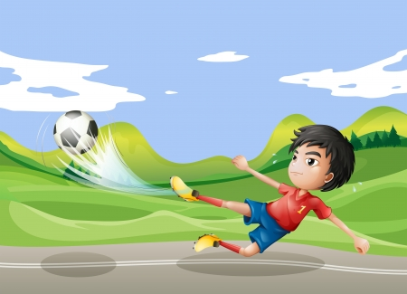 Illustration of a player playing soccer at the street Vector