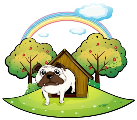 dog kennel: Illustration of a dog inside a doghouse on a white background