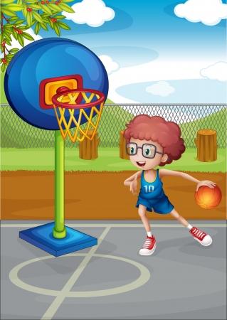 basketball court: Illustration of a boy playing basket ball